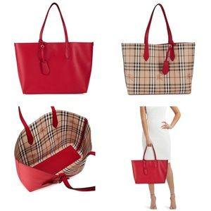 NWT Authentic Burberry Reversible Red Leather Tote